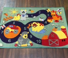 NEW FARM COUNTING LEARNING SCHOOL HOME MAT RUG 80X120CM MULTICOLOUR NON SLIP